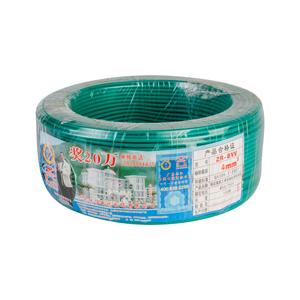 珠江 阻燃铜芯双塑单股线 ZR-BVV 4平方 绿 100M