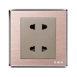 联塑电气 双联二极扁圆两用插座(品逸) PYU2