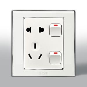 联塑电气 L51炫影单相二.三极带双开关插座 l51/10us8 银色