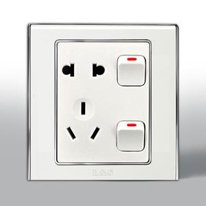联塑电气 L51炫影单相二.三极带双开关双控插座 l51/10us8/2 银色