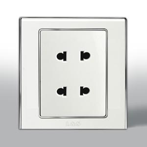 联塑电气 L51炫影双联二极扁圆两用插座 l512u 银色