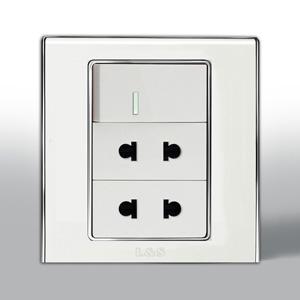 联塑电气 L51炫影二位二极扁圆两用带大跷板开关插座 l512uk 银色