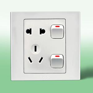 联塑电气 LV 单相二三极带双开关双控插座 LV/10US8/2