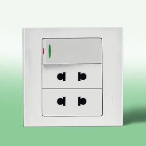 联塑电气 二位二极扁圆两用带大跷板开关插座(LV) LV2UK