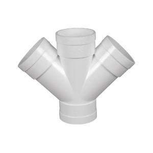 联塑 45°斜四通PVC-U排水配件白色 dn75