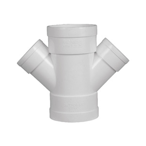 联塑 45°异径斜四通PVC-U排水配件白色 dn200×75