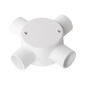 联塑 管四通圆接线盒(带盖)PVC电工套管配件白色 65×40/4/dn16/40