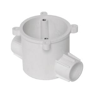 联塑 暗装灯头深型圆接线盒(双直通)PVC电工套管配件白色 65×70/2I/Φ16