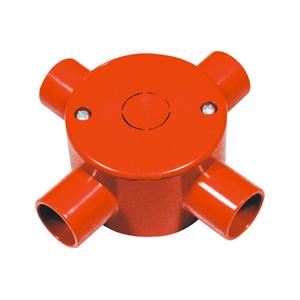 联塑 管四通圆接线盒带盖精品家装阻燃绝缘PVC电工套管配件红色 65×40/4/dn16