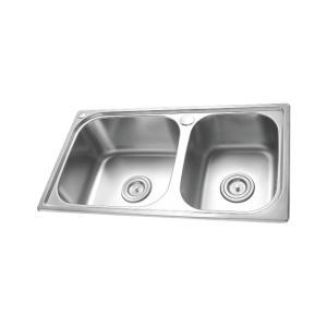 联塑 双槽带溢水不锈钢厨盆 CS11109