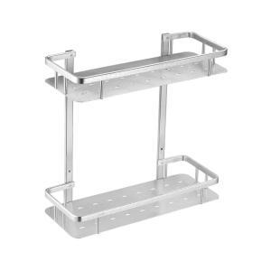 太空鋁三角白色亮光拉絲置物架 衛生間雙層轉角網籃 浴室置物架