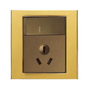 联塑电气 10A单相三极带大板开关插座(香槟金、金色、咖啡色) L51/10SKD+112