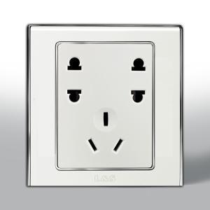 联塑电气 单相双二.单三极插座(咖啡色、金色、咖啡色) L51/U2S+212