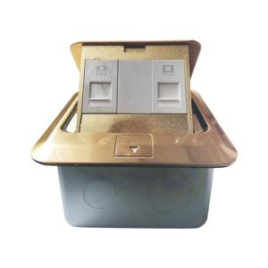 LESSO联塑地插座铜制 地插五孔地插家用多功能地面地板隐藏式插座