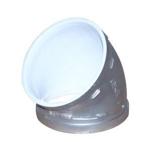 优质 沟槽衬塑45°弯头 DN89