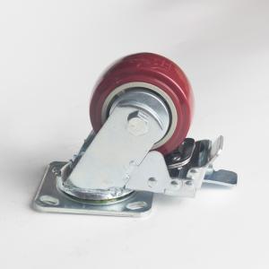 丰顺 重型平底双刹 5寸 方边枣红色 配铁盖