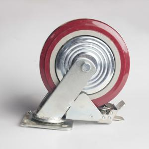 丰顺 重型平底双刹 6寸 方边枣红色 配铁盖
