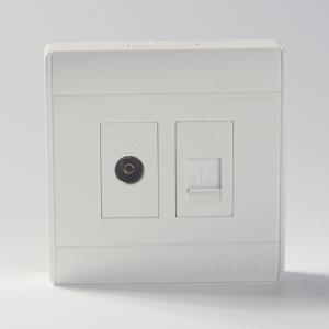 TCL/羅格朗明裝插座五孔十孔一開單控二開雙控開關電視電腦電話