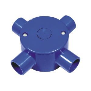 联塑 管四通圆接线盒(带盖)精品家装PVC电工套管配件蓝色 65×40/4/Φ20