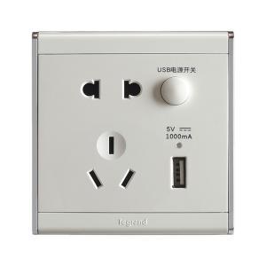 TCL罗格朗 尚韵 带二三插USB充电插座 A9/426/US/U 银边