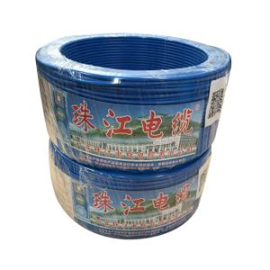 广东珠江 阻燃铜芯单塑多股线 ZR-BVR 2.5平方 蓝 100M