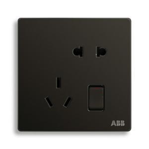 ABB 轩致 二位中标带开关二三极插座 10A AF225-885 (黑色)