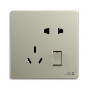 ABB 轩致 二位中标带开关二三极插座10A AF225-CS (银色)