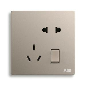 ABB 轩致 二位中标带开关二三极插座 10A AF225-PG (金色)