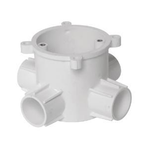 联塑 暗装灯头深型圆接线盒(四通)PVC电工套管配件白色 65×65/4/Φ16/65