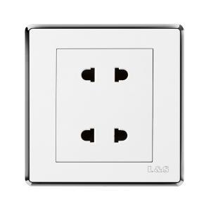 联塑电气 品尚 双联二极扁圆两用插座 PSYU2 白色银框