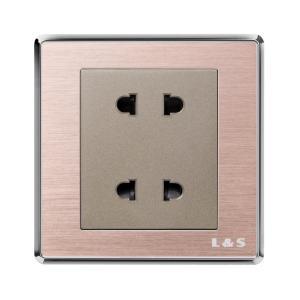 联塑电气 品逸 双联二极扁圆两用插座 PYU2 玫瑰金